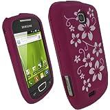 igadgitz étui en silicone avec protecteur d'écran de couleur Rose avec motif de fleur blanc pour Samsung Galaxy Mini