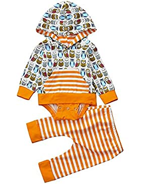 Babymode Babykleidung Set Longra Baby Junge Mädchen Hoodie Kapuzenpullover Baby Strampler und Hosen Animal Print...