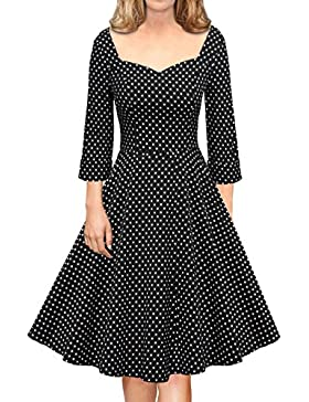 LUOUSE Women's 3/4Sleeves Swing Rockabilly Vintage Style Dress