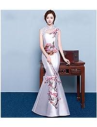 ANG Chinese Cheongsam Hombro Retro Bordado Novia Degustación Vestido Rojo Delgado Pez Cola Noche Banquete de