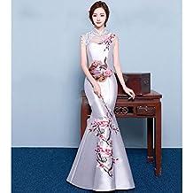 DHG Chinese Cheongsam Hombro Retro Bordado Novia Degustación Vestido Rojo Delgado Pez Cola Noche Banquete de