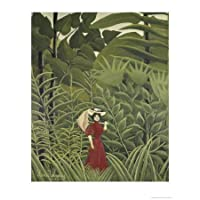 Woman with an Umbrella in an Exotic Forest Giclee Poster Print by Henri Rousseau, 12x16