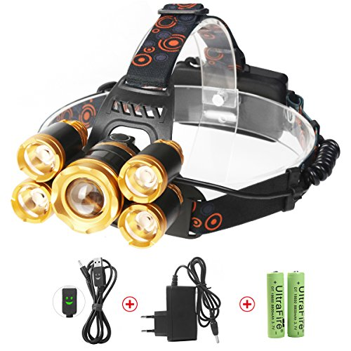 Descuento por Prime Day:Luz Frontal Súper Brillante 8000 Lumens Recargable Impermeable 1*CREE...