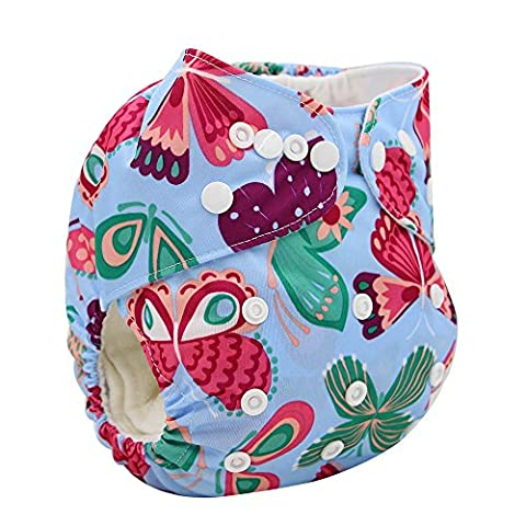 OHBABYKA Printed Design Reuseable Washable Pocket Cloth Diaper with Insert (butterfly-1)
