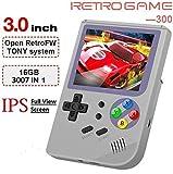 Anbernic Consoles de Jeux Portables , RG300 Console de Jeux Retro OpenDingux Tony System , Built-in 3007 Classique Jeux , 3 Pouces IPS écran Console de Jeux vidéo Portable - Gris