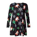 CICIYONER Skater-Kleid Frauen Weihnachten Swing Dress Damen Weihnachten Santa Schneeflocke Neuheit