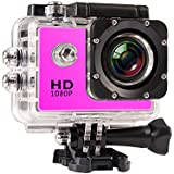 JIUSION Pink, Cam Plus 16G MicroSD: 1080P Full HD Video Action Sport Mini Camera Waterproof Case DV Water Resistant Cam Underwater Diving 5MP Lens Camcorder