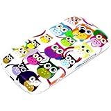 Samsung Galaxy S3 Mini Housse Portable Coque Poche Étui Dur Dos Hard Case Motif Petit hibou anneaux colorés