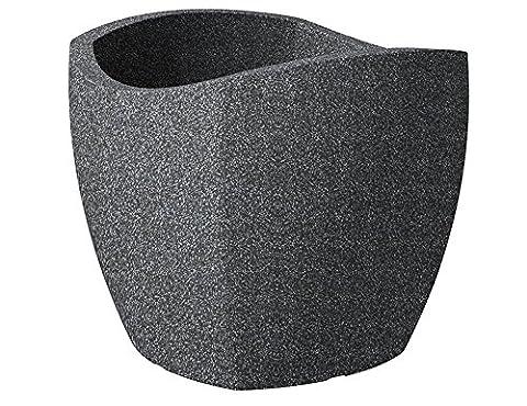 Scheurich Wave Globe Cubo Pflanzgefäß Schwarz-Granit Ø 50 cm, Höhe 45 cm