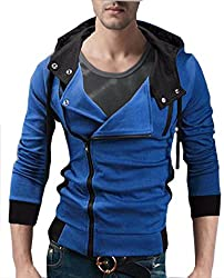 Seven Rocks Rich Cotton Mens Hoodie Sweatshirt Jacket Two Zipper Denim Blue