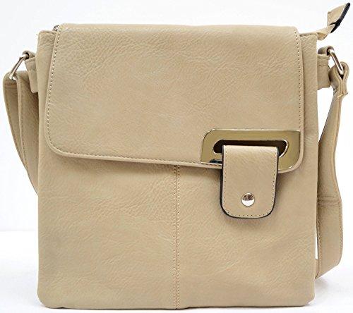 Damenumhängetasche/-schultertasche aus weichem Kunstleder Beige