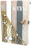 maritime Dekoration Schlüsselkasten Keys Holz grau weiß Treibholz Look 26x17cm