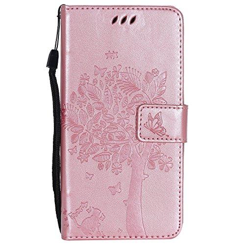 Tosim [Moto C Plus] Hülle Leder, Klapphülle mit Kartenfach Brieftasche Lederhülle Stossfest Handy Hülle Klappbar für Motorola Moto C Plus - TOKTU55464 Rosa Gold
