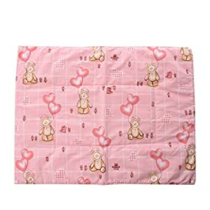 Baby Bucket Multi Purpose Baby Mat Pink Teddy With Bloon Print Set Of 3 + 1
