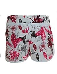 L.S Teenager, Damen Badeshorts VERSCHIEDENE FARBEN mit Blumen Hawaii Muster, Hot Pants, Hipster