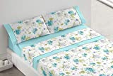 Burrito Blanco Juego de Sábanas 686 con Diseño de Flores para Cama de Matrimonio de 150x190 hasta 150x200 cm/Juego de Cama 150, Color Azul