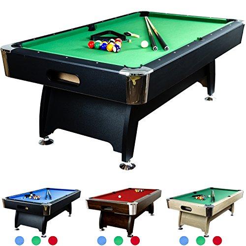 Maxstore 8 ft Billardtisch Premium' + Zubehör, 9 Farbvarianten, 244x132x82 cm (LxBxH), schwarzes Dekor, grünes Tuch