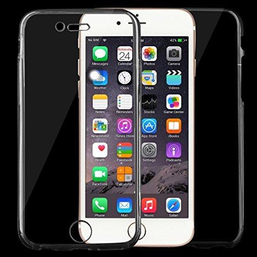 Phone case & Hülle Für iPhone 6 / 6s, 0.75mm doppelseitiger ultradünner transparenter TPU Schutzhülle ( Color : Black ) Black
