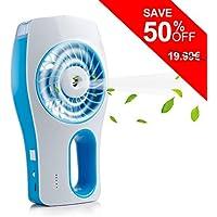 iEGrow Mini ventilador de pedestal con refrigeración, ventilador recargable de mano USB con 3 modos