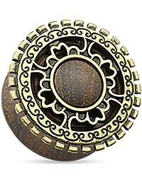 Piercingfaktor® Flesh Ohr Holz Plug Tunnel Tribal Aztek Altgold