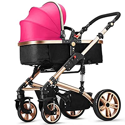 RUMIAO Pushchair, High LandscapeHalf CanopyShock AbsorberReversible Stroller, 180 Degree Reclining, Winter And Summer, Infant Pram,Pink