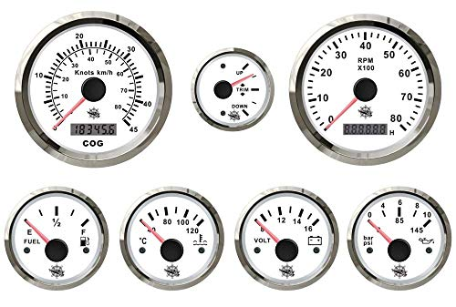 Saarwebstore 7er Instrumentensatz weiß mit Chrome Mercruiser/Volvo Penta Alpah One Bravo Duoprop Instrument für Innenbordmotoren -