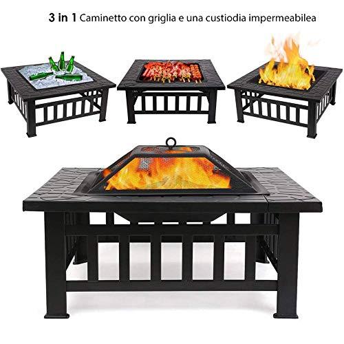 Femor braciere da esterno in acciaio inox, braciere da giardino 81cm,tavolo quadrato da 12,5kg stabile per decorazioni per il giardino, riscaldamenti e bracieri da esterno, secchiello per il ghiaccio