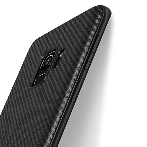 Samsung Galaxy S9 Case, J Jecent [Carbon Fiber Texture Design] Light ShockProof Brushed Grip Cover Slim Simple Stylish Fully Protective Design Soft TPU Silicone Gel Bumper Case for Samsung S9 5.8 inch (2018 Release) (Black)