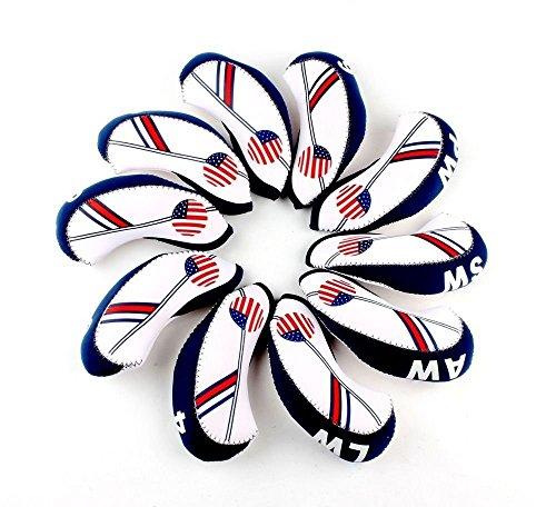 mamimamih de Golf Blanc et Bleu Drapeau US Club de golf en fer Cale Tête pour protection en néoprène pour Titleist, Callaway, Ping, TaylorMade, Cobra, Nike, etc..