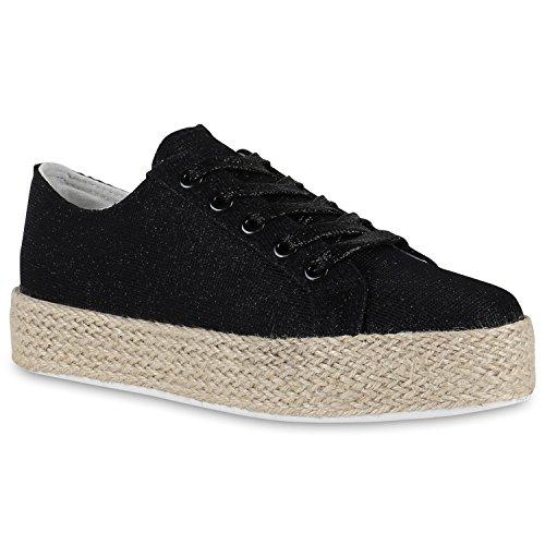 Damen Plateau Sneaker | Prints Metallic | Plateauschuhe 90s Look | Sneakers Stoffschuhe | Schnürer | Prints Blumen Lack Glitzer Black