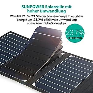 RAVPower Solar Ladegerät 16W, 2 Port USB Solarladegerät Outdoor Charger mit 21,5-23,5% Umwandlungseffizienz, Leicht, Faltbar, Wasserdicht, Kompatibel mit Allen Handys, iPad, Kamera usw. by RAVPower