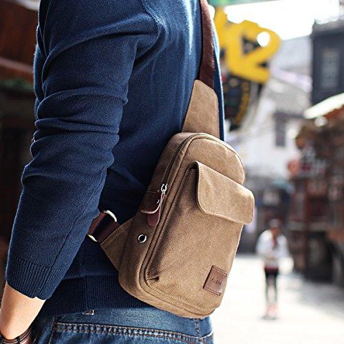 Global-Herren Sporttasche Brustbeutel koreanische beiläufige Segeltuchschulterbeutel Mannbeutel Student Messenger Tasche Taschen Licht Kaffee Farbe (Upgrade-Abschnitt)
