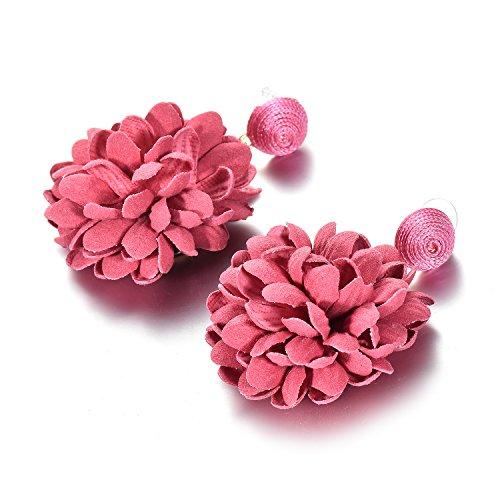 Oaonnea Große Rot Blumen Statement Damen Modeschmuck Ohrringe (Große Ohrringe Modeschmuck)