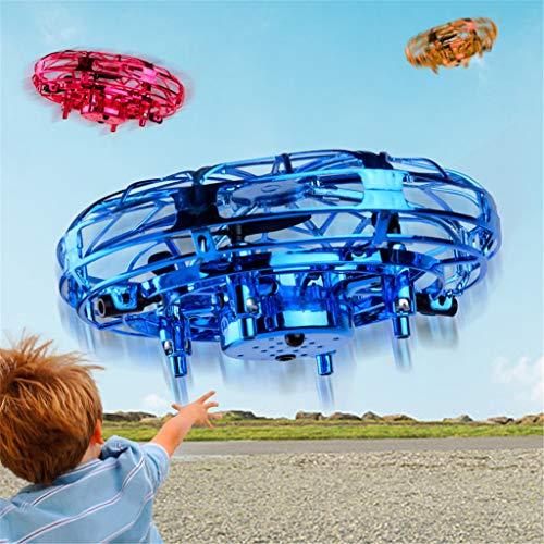 tions-Levitations-Drohne,handgesteuerter Fliegender Ball für Kinder mit 360 °Drehung LED-Licht Infrarot-Induktion USB-Ladefunktion für vierachsige Kinder Flash Fly UFO Toys (Blau) ()