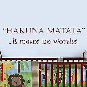 Stickers muraux Citations Hakuna Matata lettres Décor mots Sticker mural en vinyle Stickers muraux sticker mural pour enfants Chambre pour enfant bébé