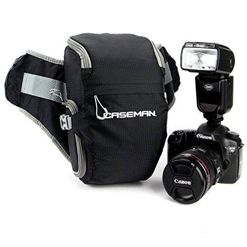 Hama-Caseman AW02 impermeabile per fotocamera DSLR, colore: nero, Borsa marsupio in vita per Sony Canon Nikon Pentax