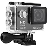 Vikeepro Action Camera 2.0 Inch Full HD 1080p 30fps Sports Camera With 170 Degree Ultra-wide Angle Lens Wi-Fi Wrist 2.4G 2 Batteries And Free Accessories Kit Silver