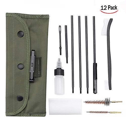 Xrten 12 in 1 Pistole Reinigungsset,Gewehr Reinigung Werkzeug mit Tragetasche Kompakte Größe (Kompaktes Gewehr-reinigungs-kit)