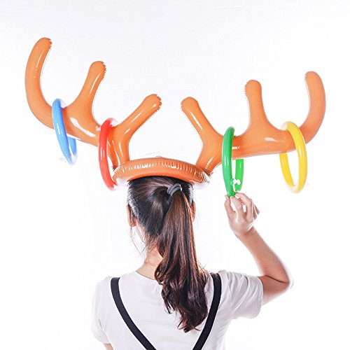 mxjeeio Inflatable Reindeer Antler Ring Toss Game-Holiday Party Aufblasbare Rentier-Geweih-Hut mit Ringen für ()