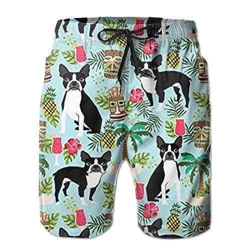 Daisy Evans I Like Exercise New Boston Terrier, Palm Trees Summer Holiday Men's Beach Pants,Shorts Beach Shorts Swim Trunks,M