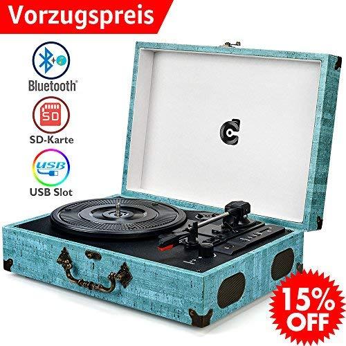 Wockoder Turntable Vinyl Plattenspieler Koffer Vintage Retro Bluetooth USB Nostalgie Schallplattenspieler mit Lautsprecher Riemenantrieb Aux-In RCA 33/45/78 U/min Türkis
