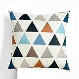 SMDZ Baumwolle und Leinen Kissen, Quadrat dekoriert Dreieck werfen Kissenbezug Sofa Kissen 18 X 18 in (Farbe : Beige)