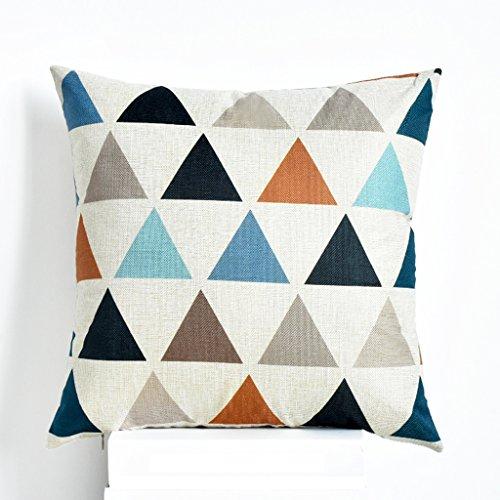 SMDZ Baumwolle und Leinen Kissen, Quadrat dekoriert Dreieck werfen Kissenbezug Sofa Kissen 18 X 18 in (Farbe : Beige) - Gelbe Quadrat Kissen