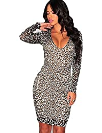 d4dcb777f8a New Leopard Print Body Con Mini Dress Evening Party Wear Club Casual Wear  Club Size UK