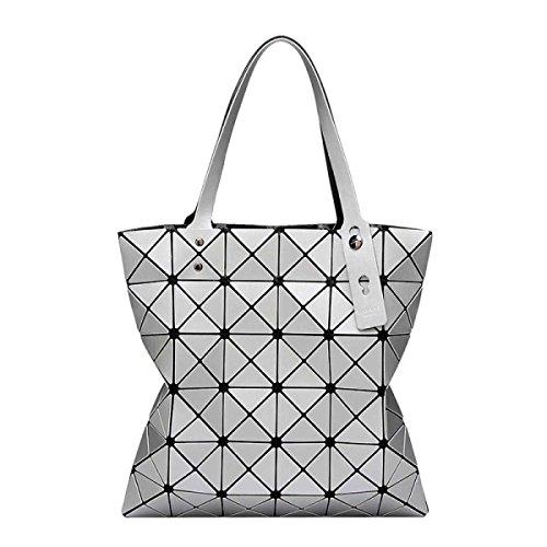 Frauen Geometrische Mode Matte Umhängetasche Silver
