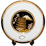 WYNCH Made In Japan 24 Karat Gold Plated Chokin Plate With Five Storied Pagoda And Mt. Fuji Design(White)