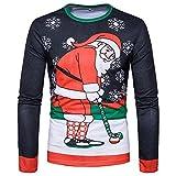 Weihnachten Blusen FORH Herren Herbst Winter Bunte Weihnachten muster Drucken T-Shirt Mode Slim Fit Langarm pullover Sweatshirt Casual Sweater Shirt Top (H, M)