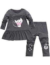 Aikobaby Cute Bébé Filles Enfants Sets en Imprimer Bow Cartoon T-shirt + pantalon 2PCS Set