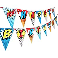 POP parties Superhero Happy Birthday Banner Pennant - Superhero Party Supplies - Superhero Decorations - Red