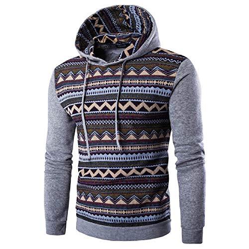 Aoogo Herren Kapuzenpullover Kapuzenjacke National Style Print Hoodie Kapuzenpulli mit hoch abschließendem Kragen Kapuzen Sweatshirt -